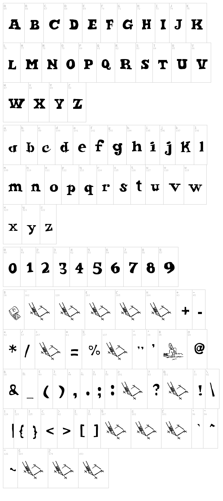 Ode 2 Paste Up font map