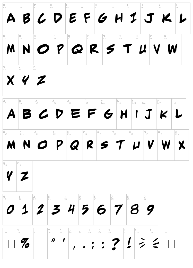 Adam Warren Pro font map