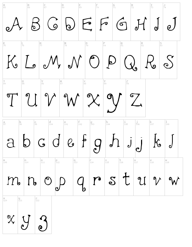 First Crush font map