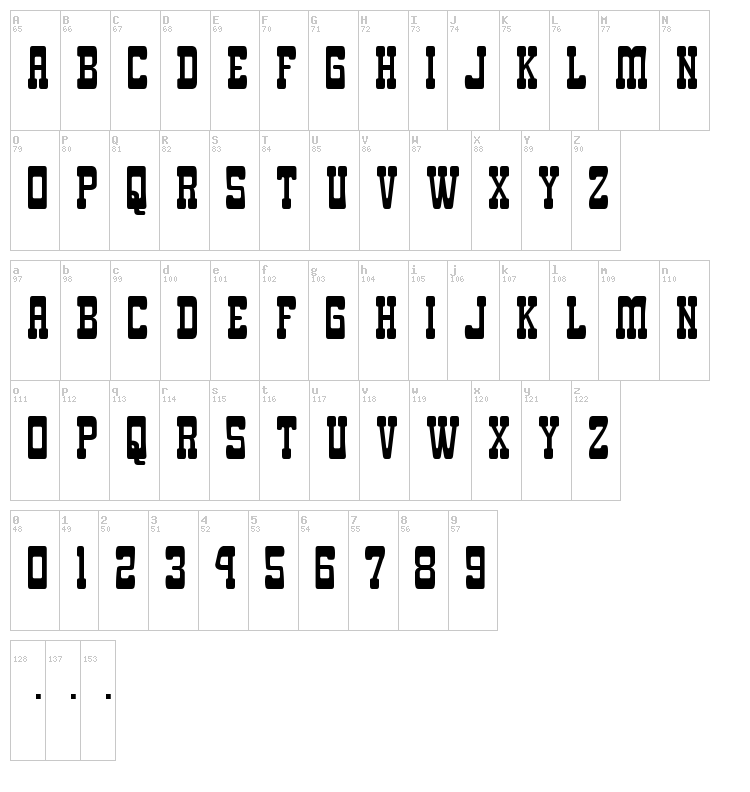 Goma Western font map