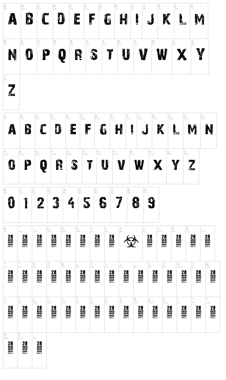 28 Days Later font map