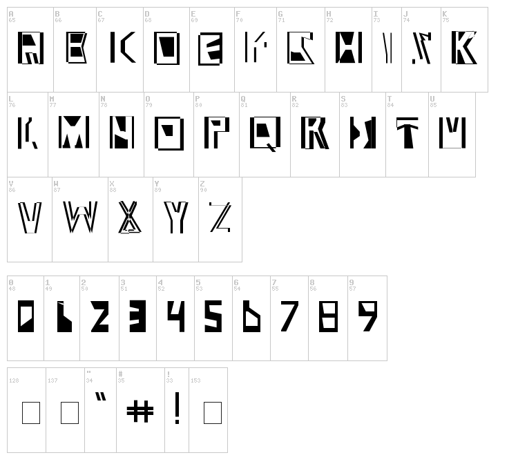Abstract Abomination font map