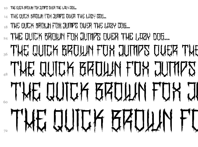 BangLYCH - Revenge Horror font waterfall
