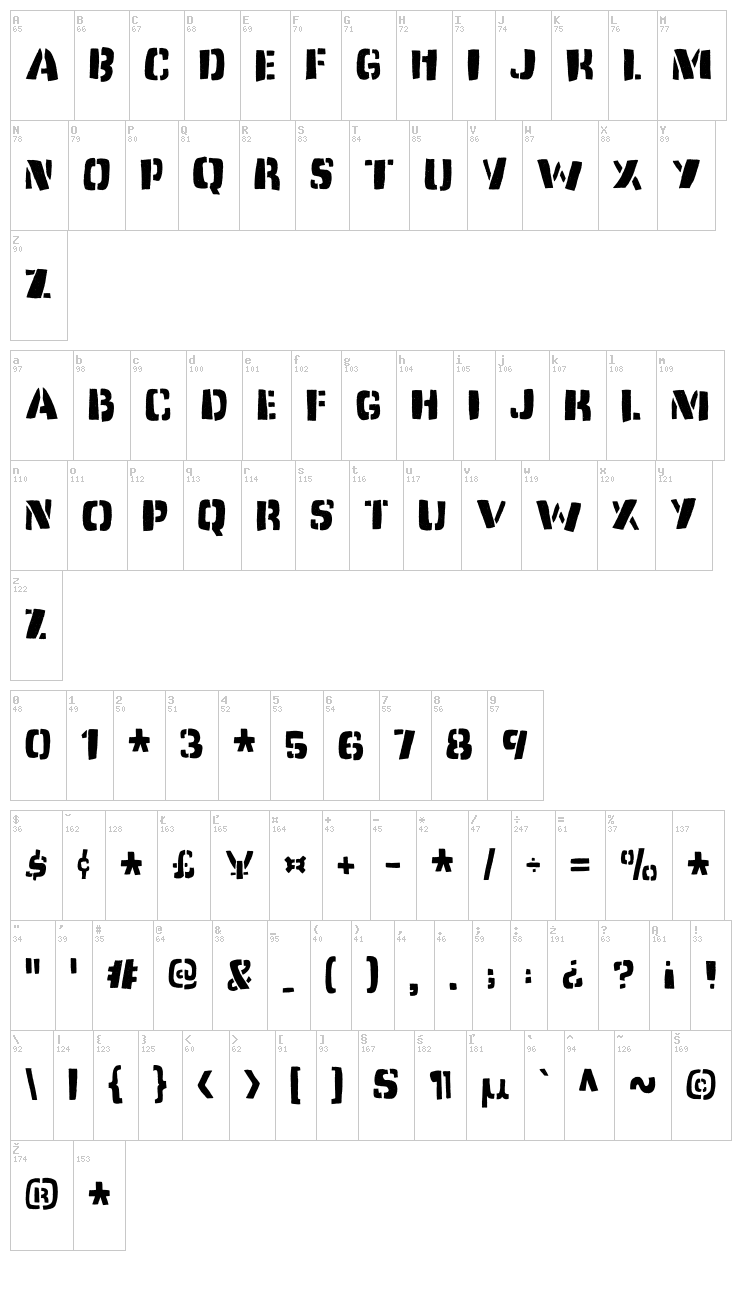 Dirty Jab font map