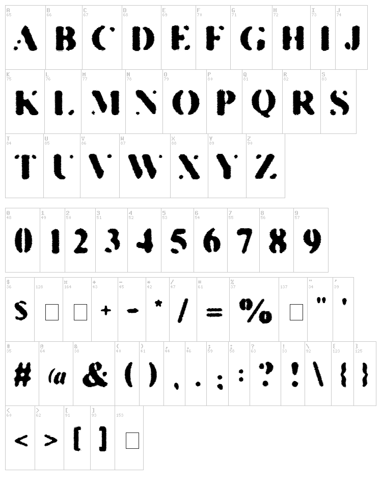 Kill The Hippies font map