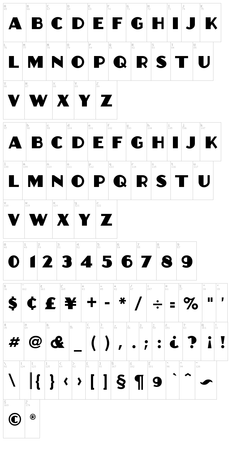Anchor Jack font map