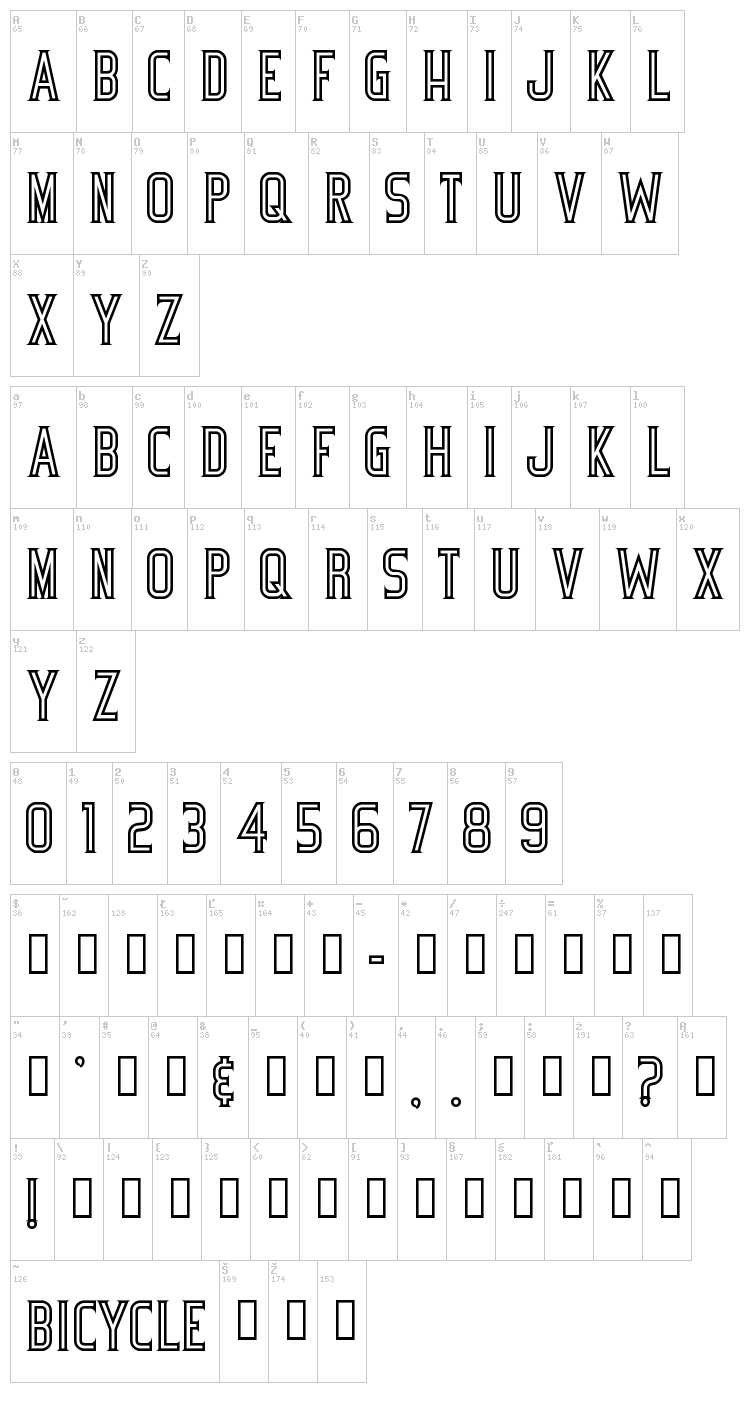 Bicycle font map