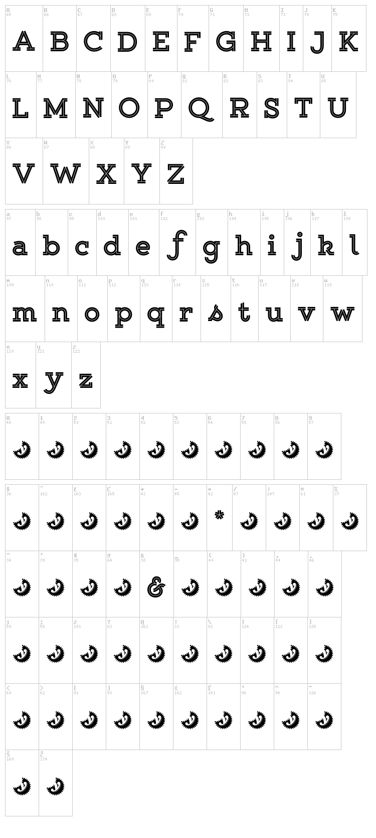 Gist Upright font map