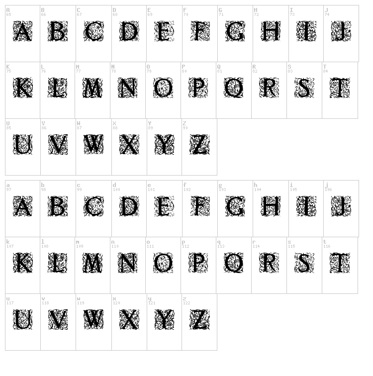 Decorated Roman Initials font map