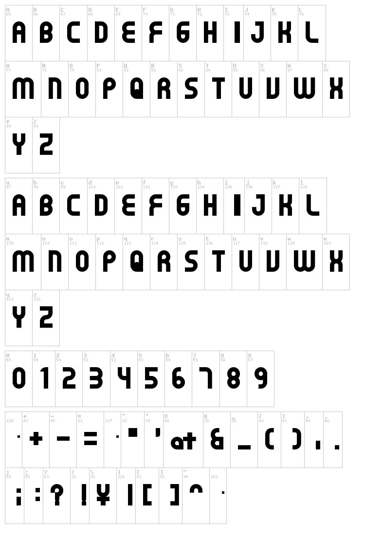 Gear font map