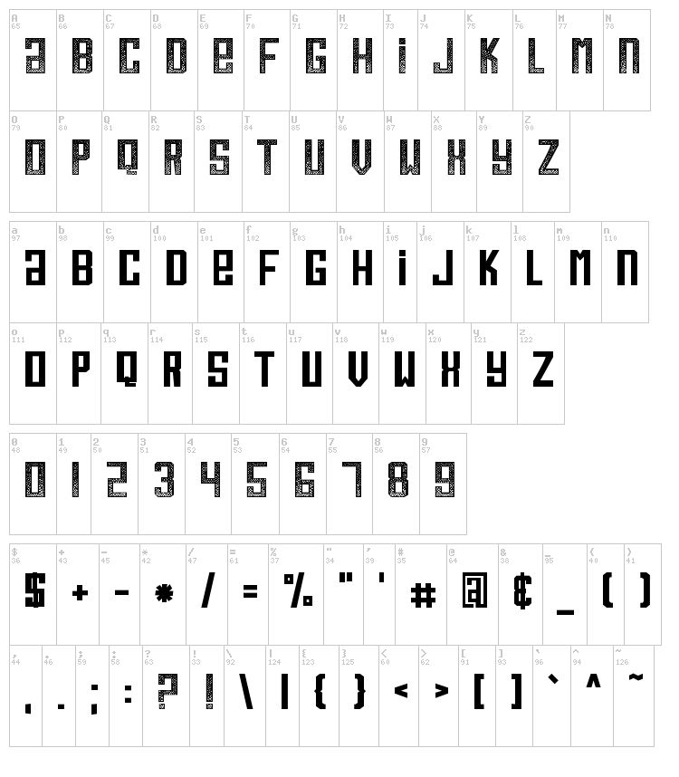 Boo Boo Kitty font map