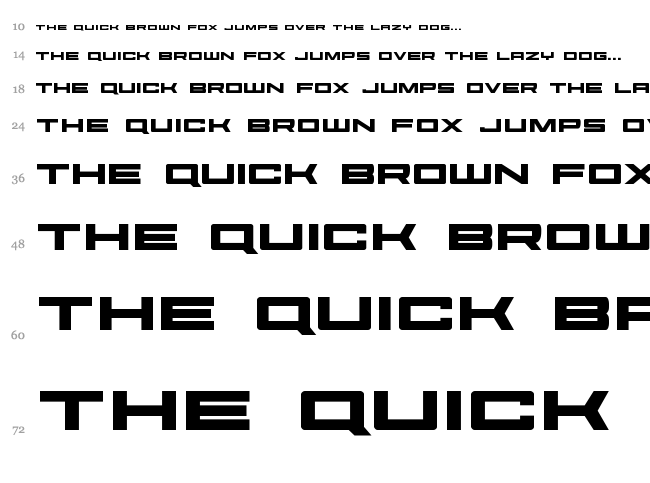Future Forces font waterfall