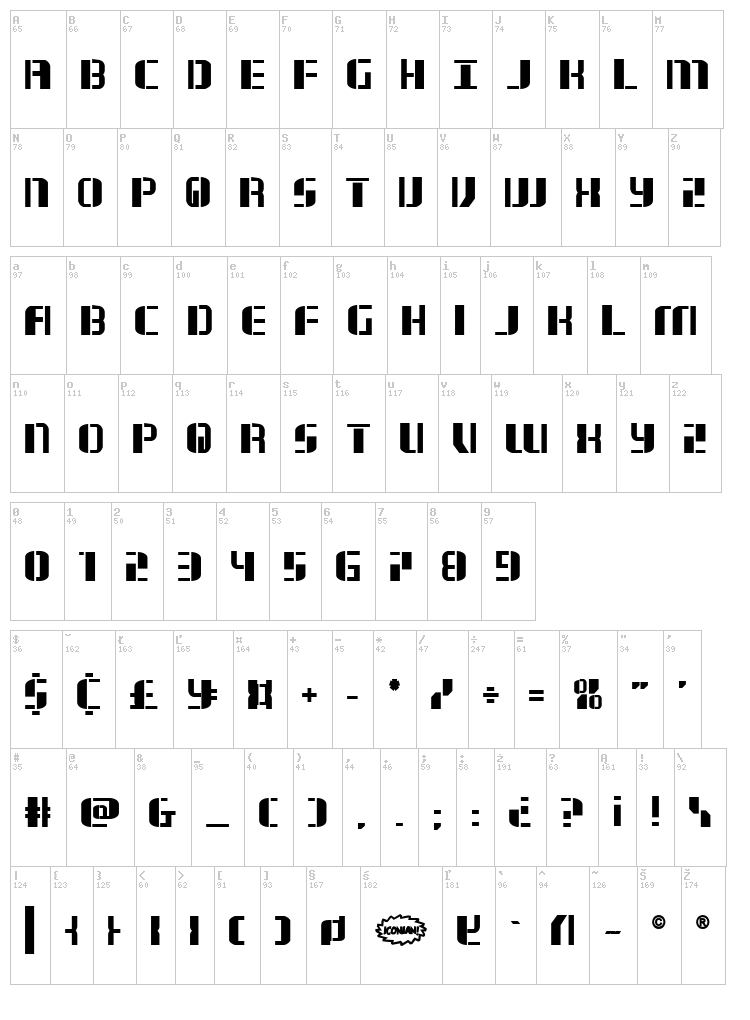 Jetway font map