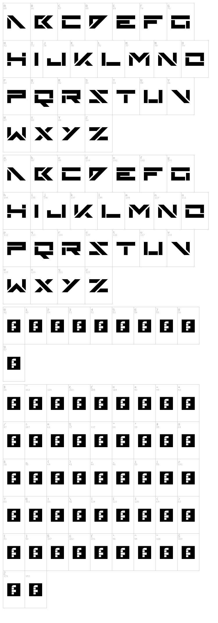 Skinz font map