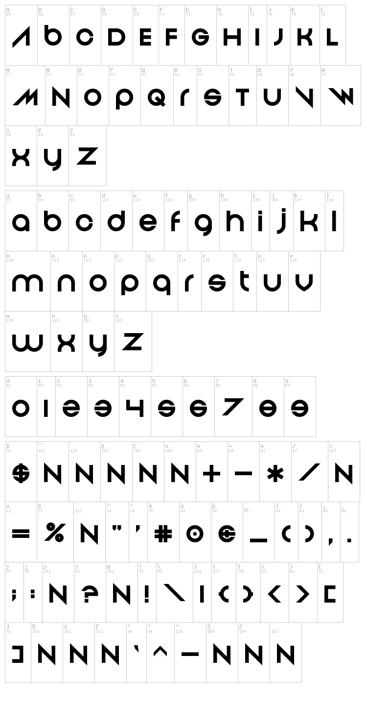 And Then It Ends font map