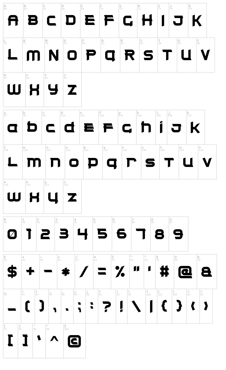 Clear Metal 7 font map