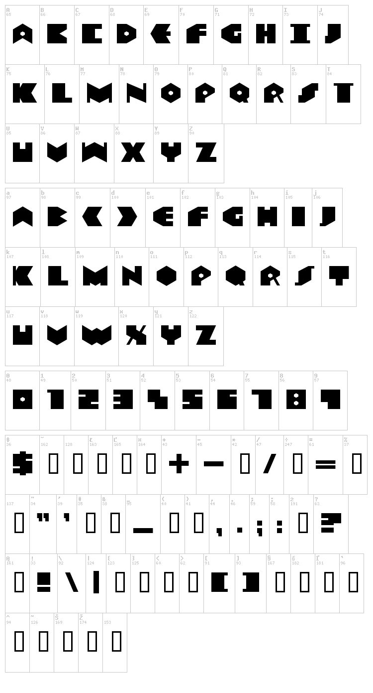 Data Transfert font map
