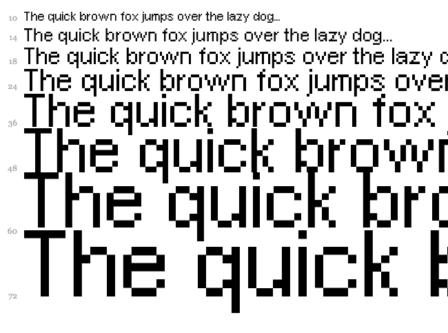 Pixel Arial 11 font waterfall