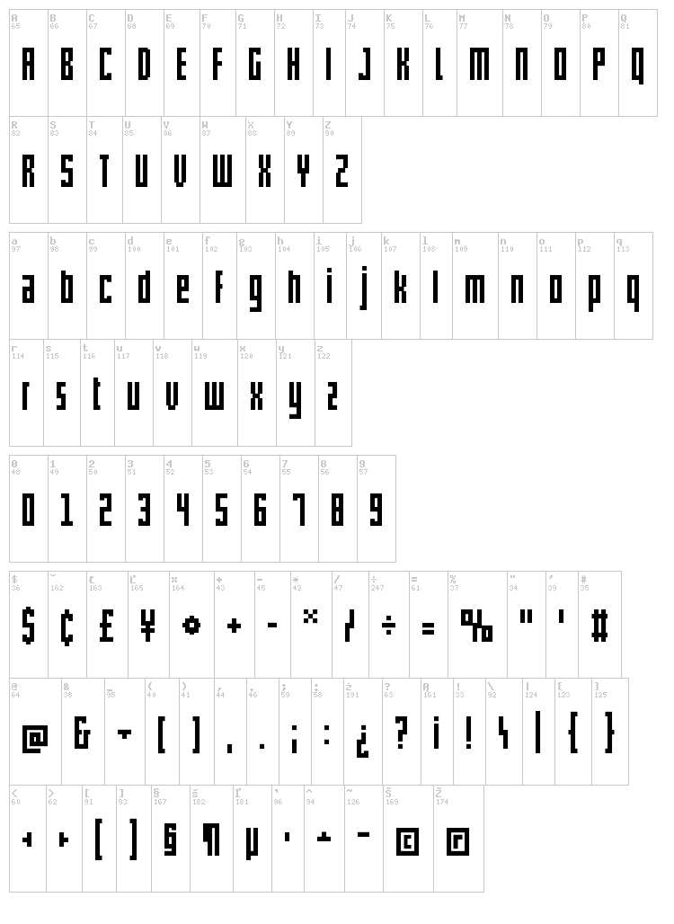 Pxlxxl Cond font map