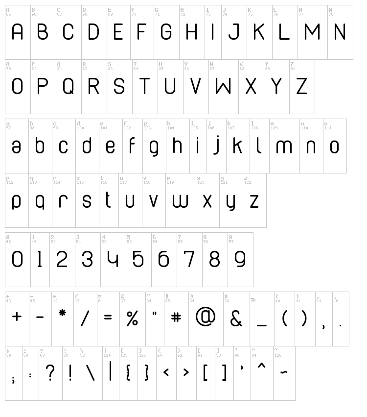 Cabo Rounded font map