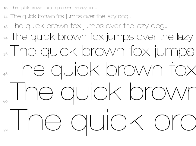Helvetica Neue font waterfall