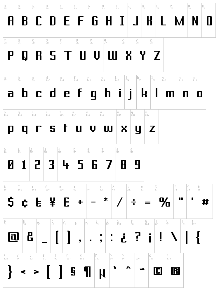 Prussian Brew Solid font map