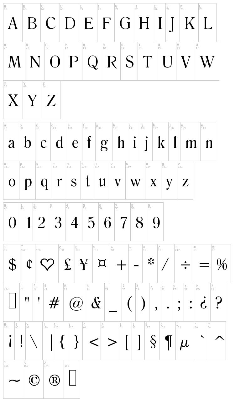 Salernomi J font map