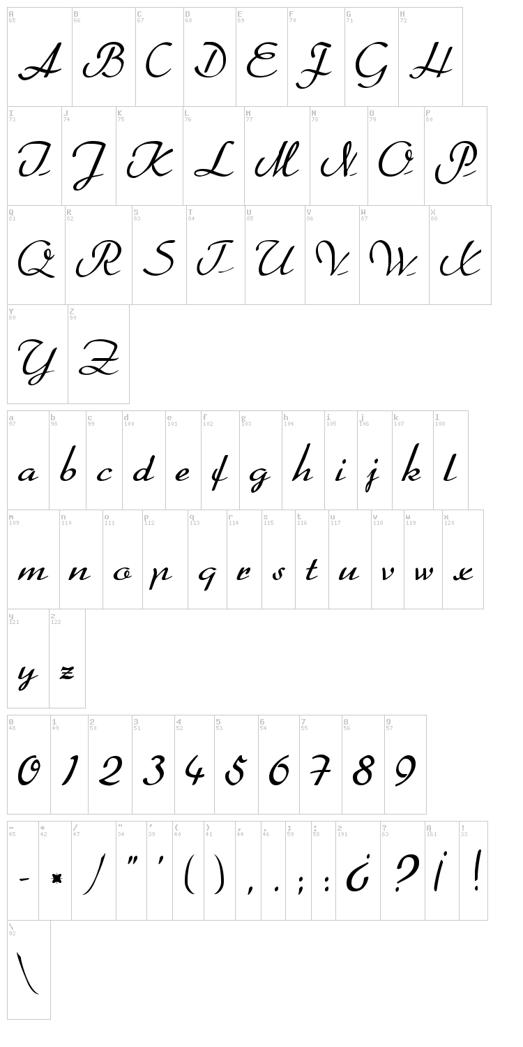Better Heather font map