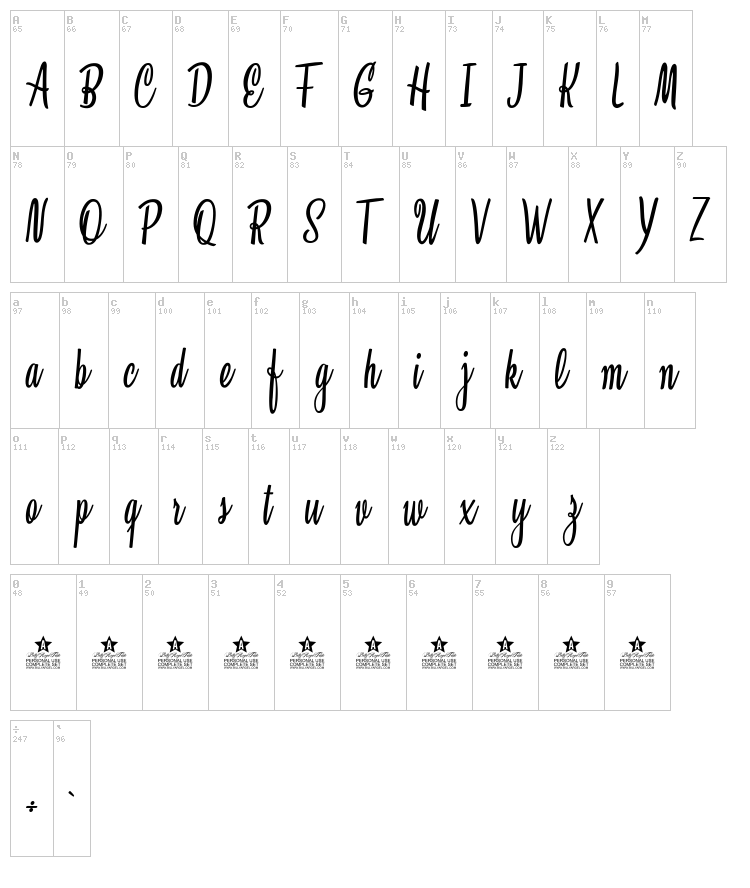 Clarice font map