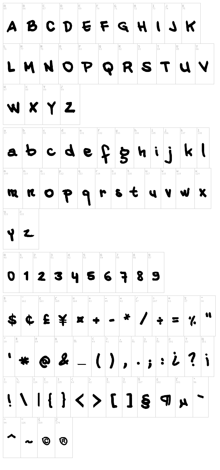 20 Cents Marker font map