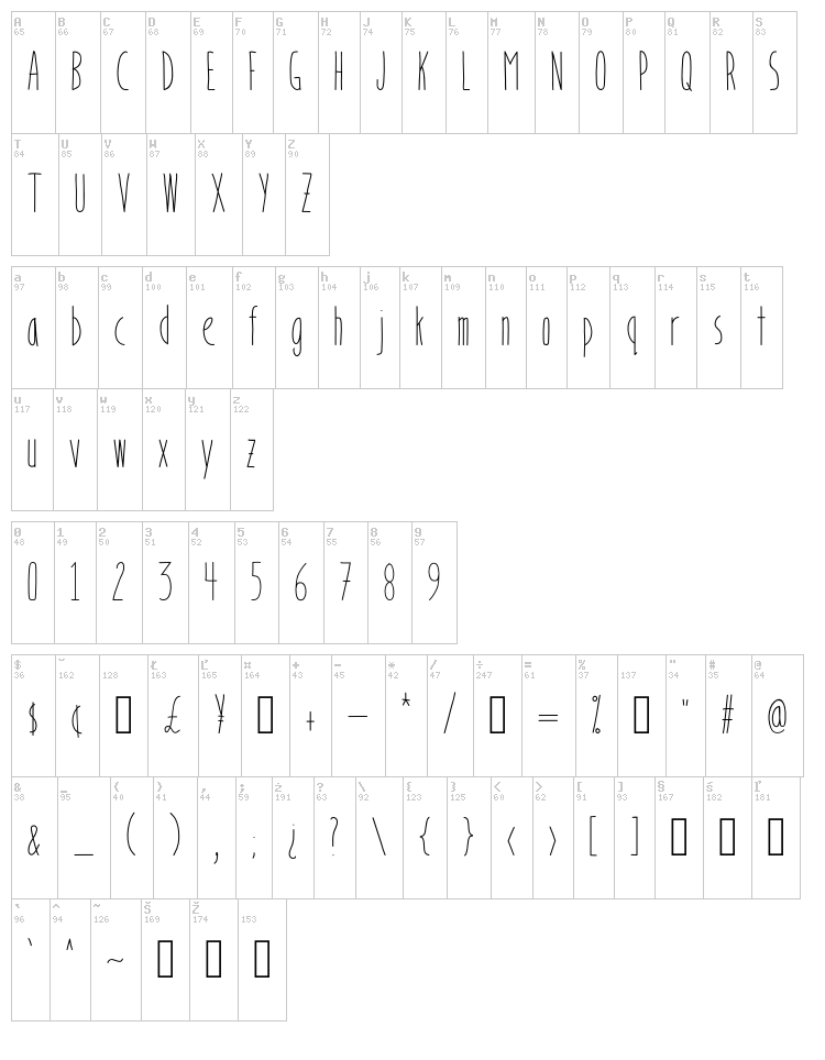 Bookends font map