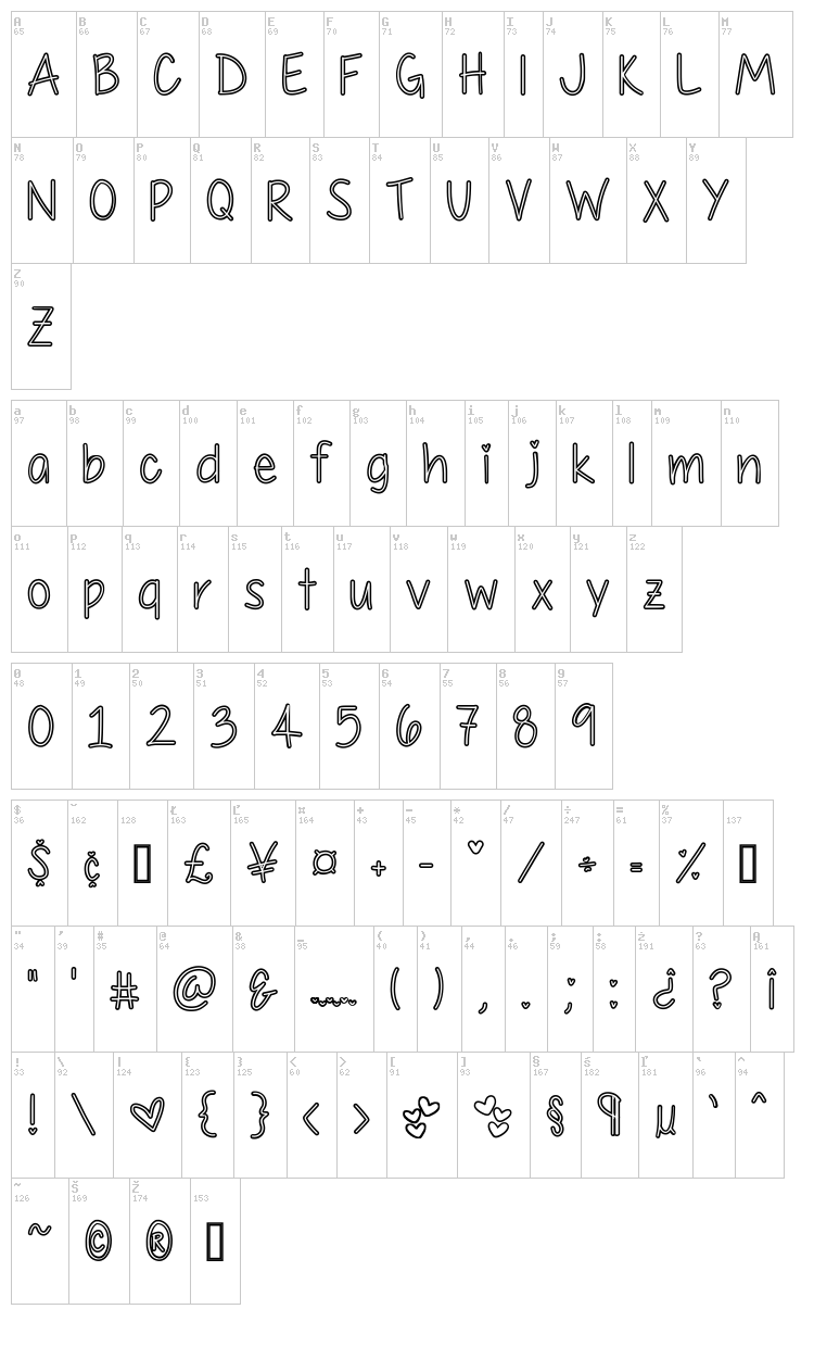 My First Crush font map