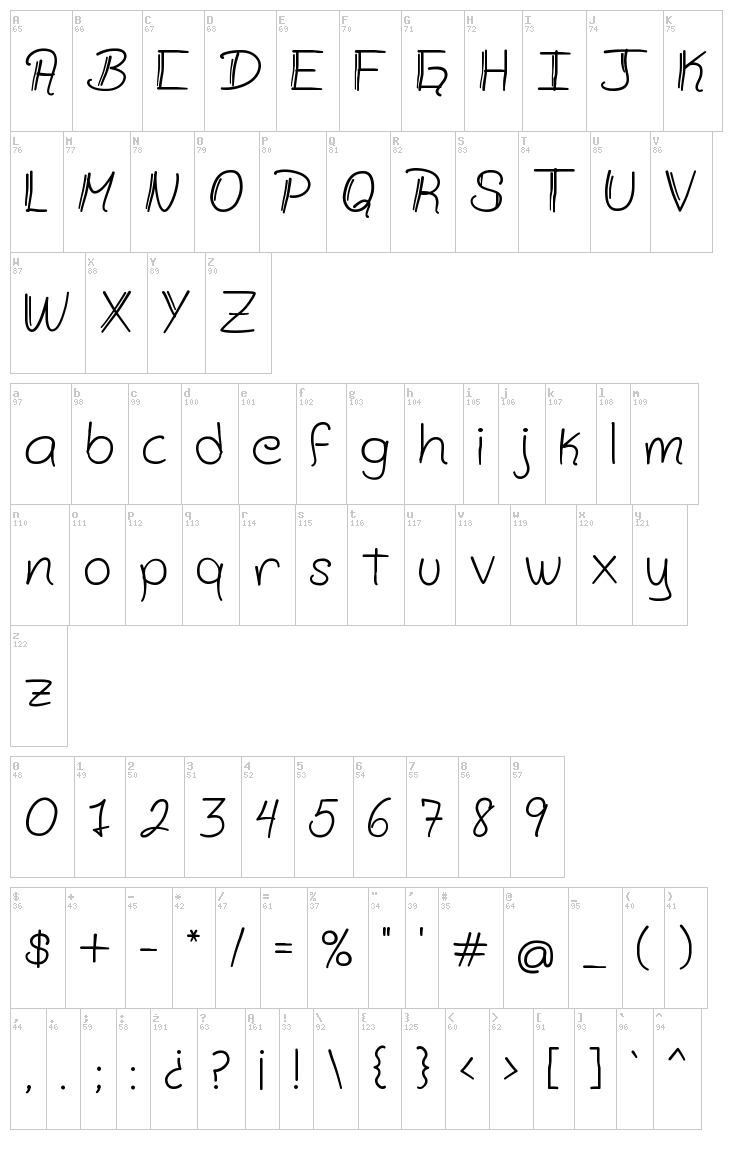 Zamsley font map