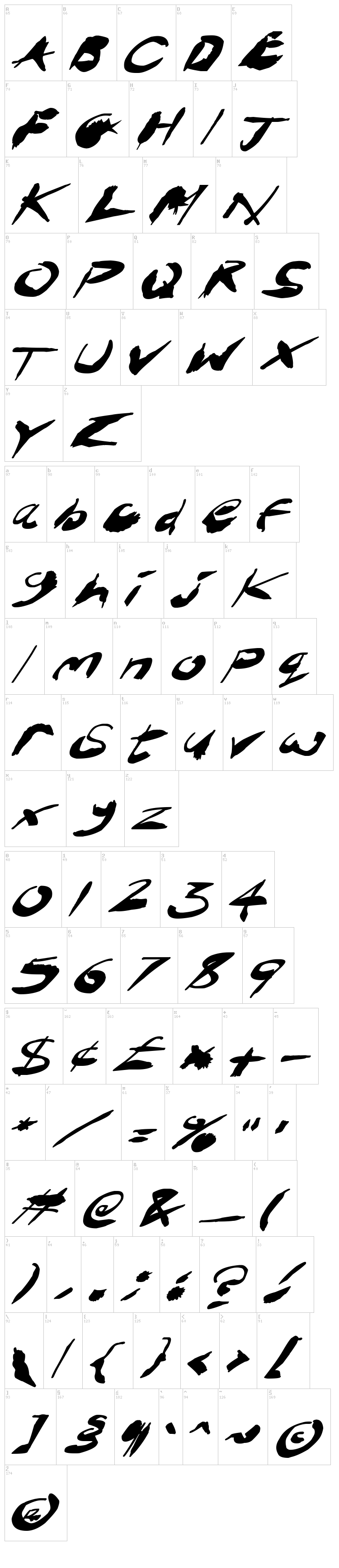 Crazy Ink Splats font map