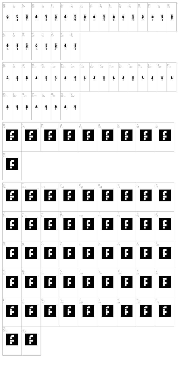 Lost Robo font map