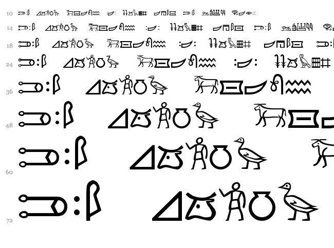 Meroitic Hieroglyphics font waterfall
