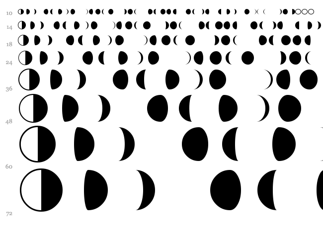 Moon Phases font waterfall