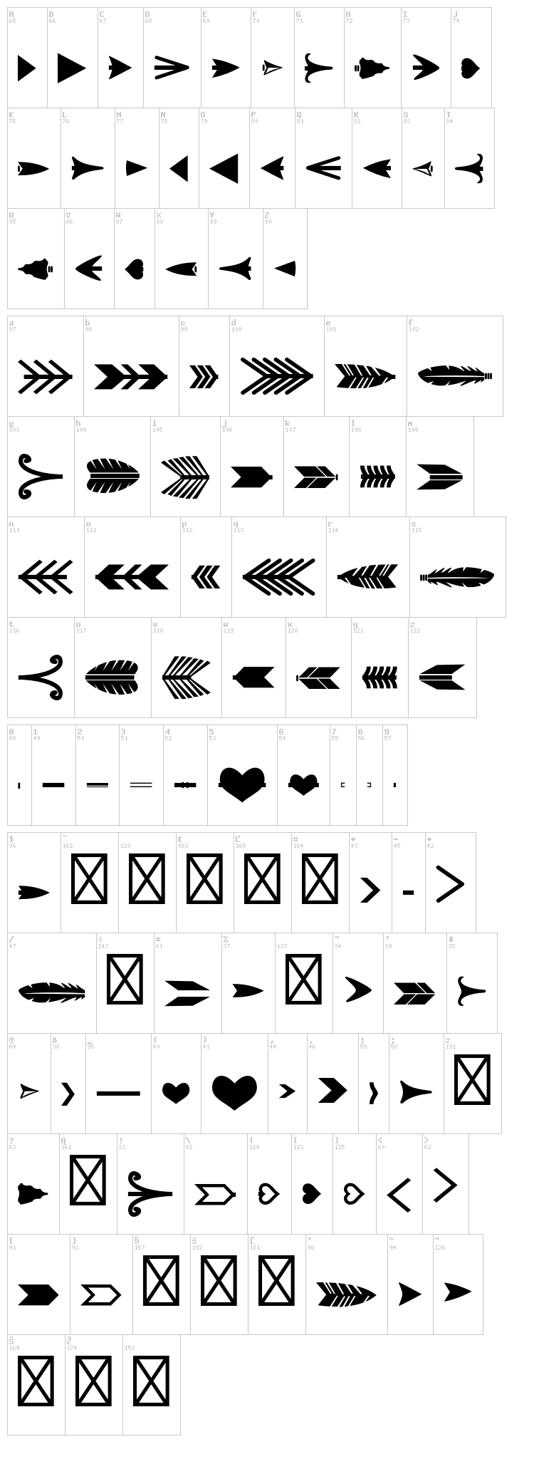 Arrow Crafter font map