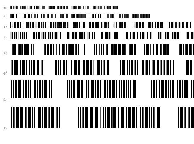 3 of 9 Barcode font waterfall