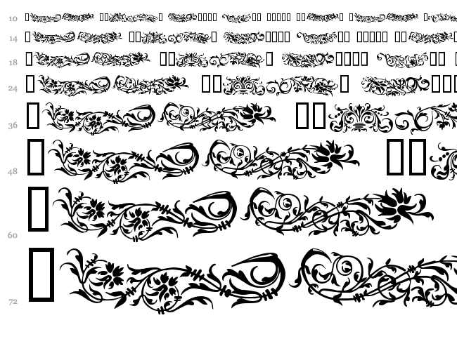 Flower Ornaments font waterfall