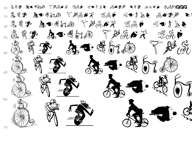 Cycling font waterfall