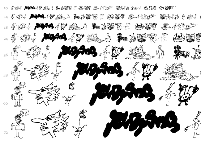 Brian powers Doodle 2 font waterfall