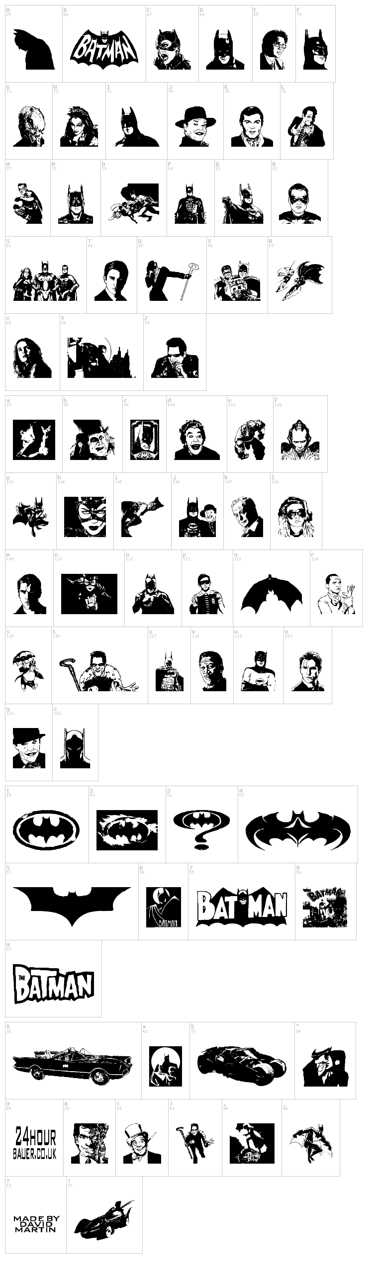 Batman The Dark Knight font map