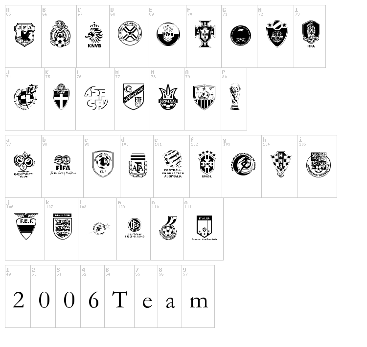 2006 Team font map