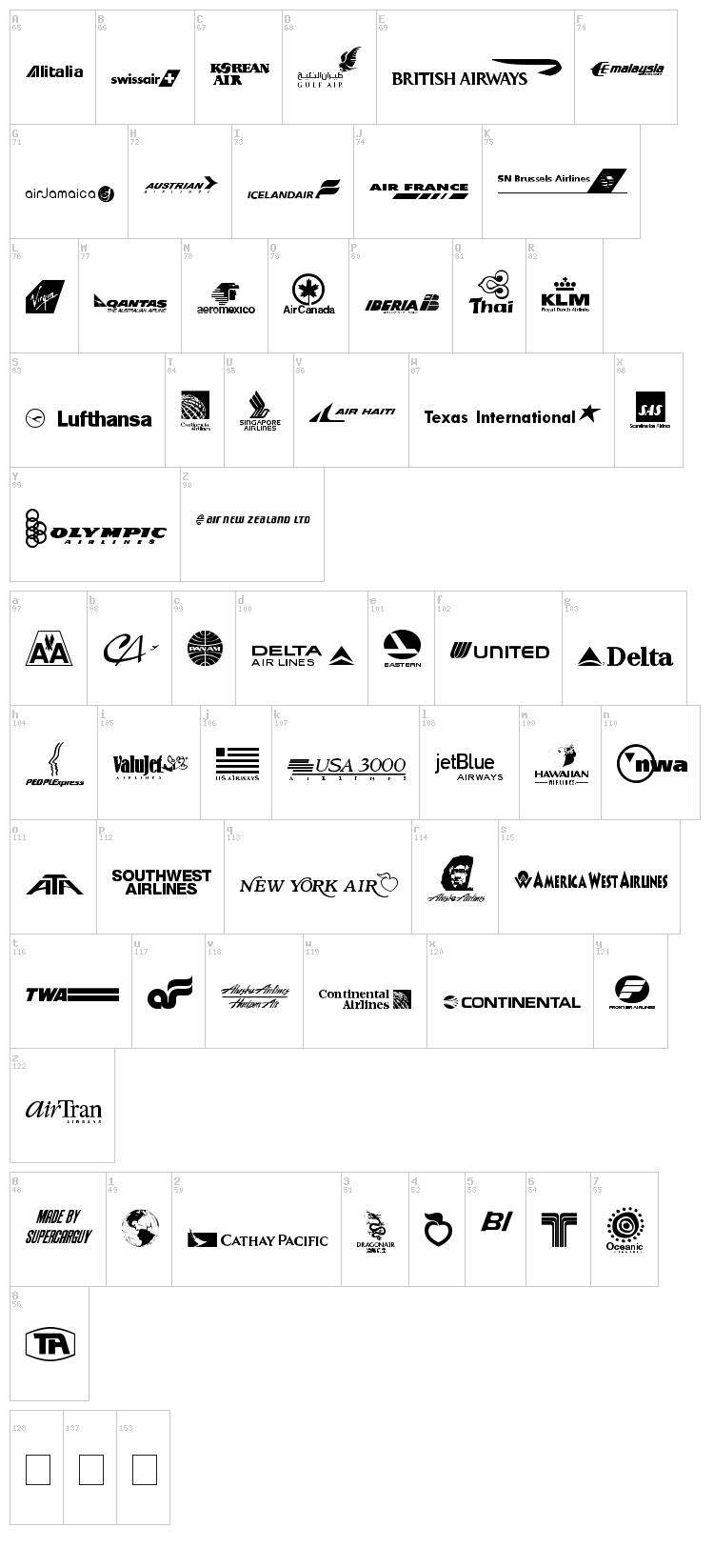 Airline Logos Past and Present font map