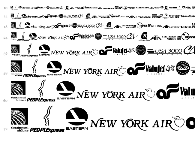 Airline Logos Past and Present font waterfall