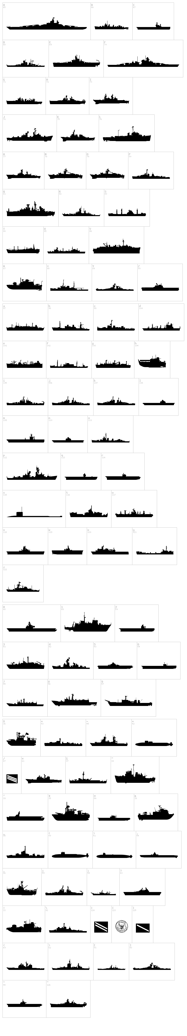 US Navy font map