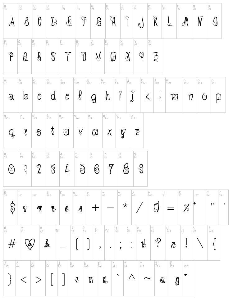 TX Love font map